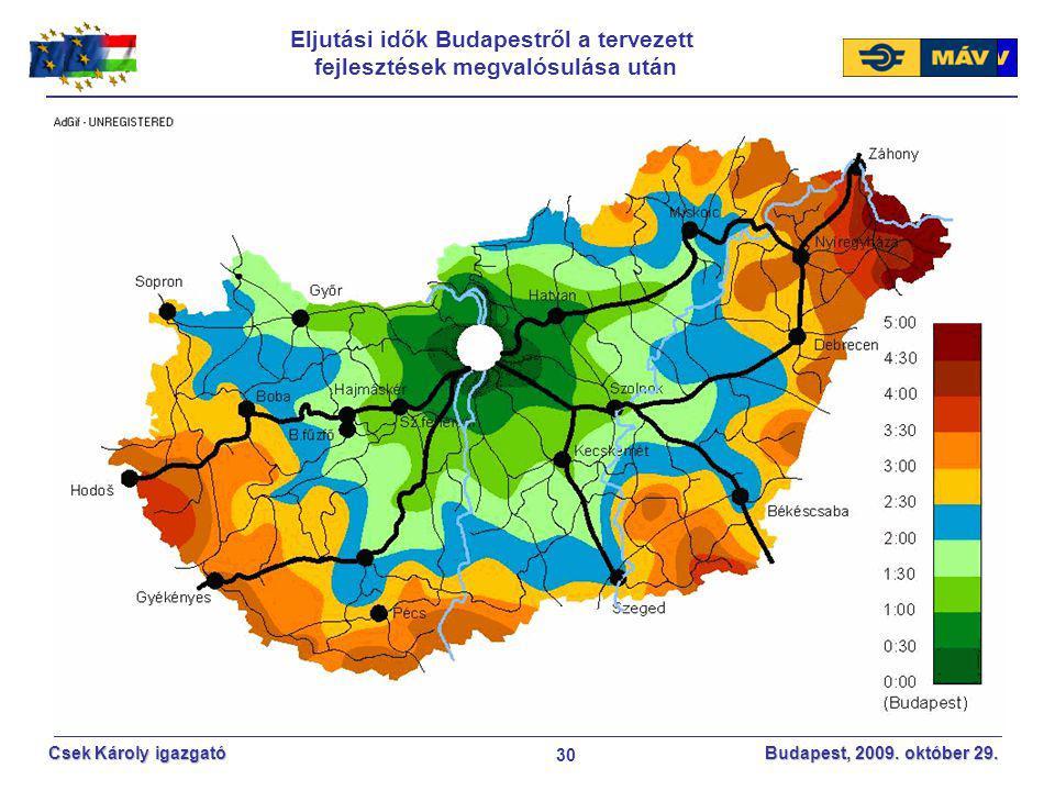 30 Csek Károly igazgató Budapest, 2009. október 29. Eljutási idők Budapestről a tervezett fejlesztések megvalósulása után