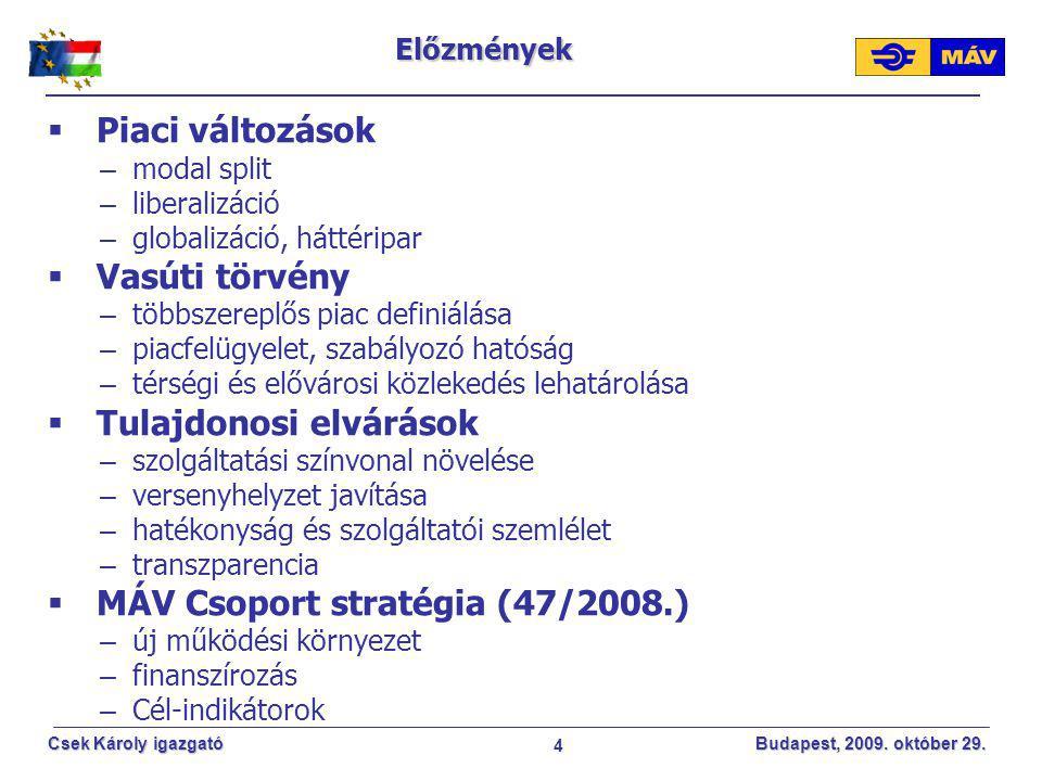 4 Csek Károly igazgató Budapest, 2009. október 29. Előzmények  Piaci változások – modal split – liberalizáció – globalizáció, háttéripar  Vasúti tör