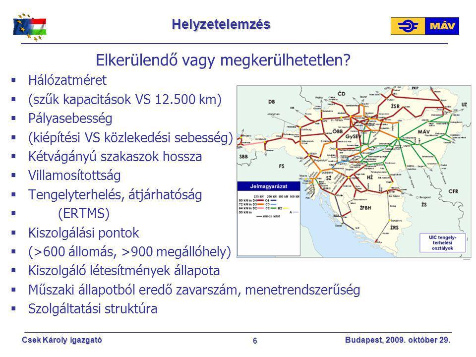 6 Csek Károly igazgató Budapest, 2009. október 29. Helyzetelemzés Elkerülendő vagy megkerülhetetlen?  Hálózatméret  (szűk kapacitások VS 12.500 km)