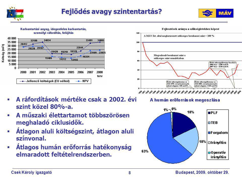 8 Csek Károly igazgató Budapest, 2009. október 29. Fejlődés avagy szintentartás?  A ráfordítások mértéke csak a 2002. évi szint közel 80%-a.  A műsz