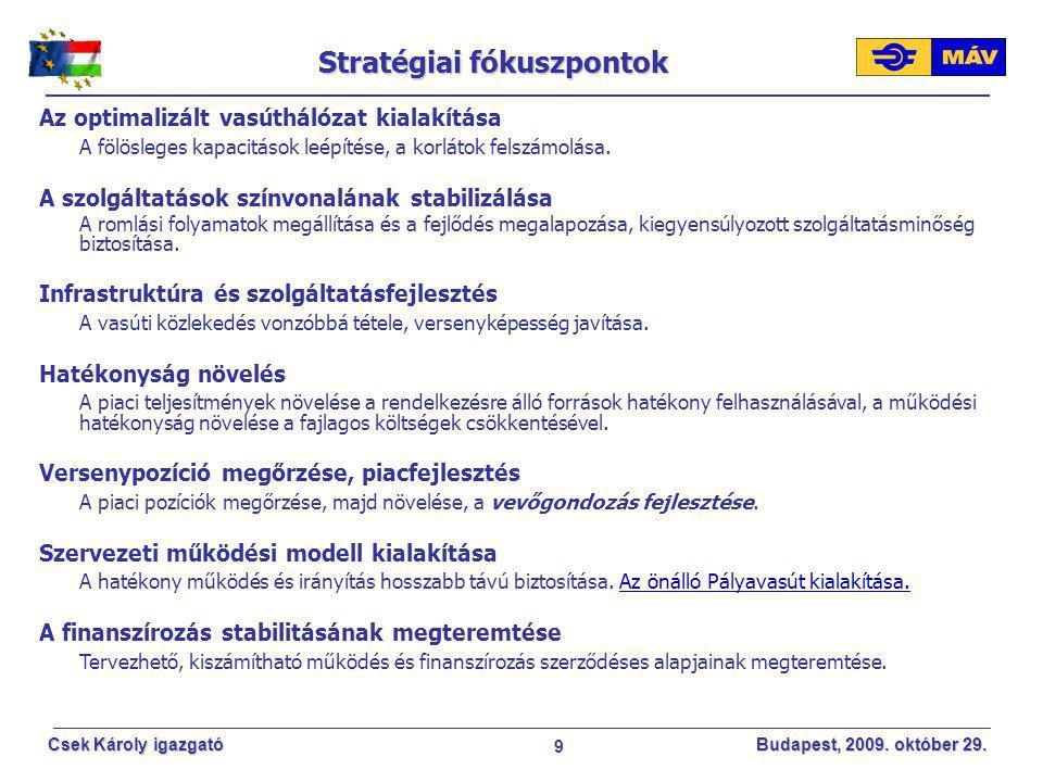 9 Csek Károly igazgató Budapest, 2009. október 29. Stratégiai fókuszpontok Az optimalizált vasúthálózat kialakítása A fölösleges kapacitások leépítése