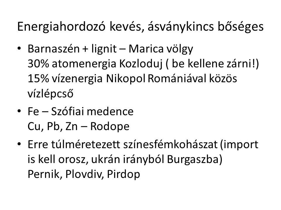 Gépipar – főleg mg.-i gépek és szállítóeszközök Szófia, Plovdiv + kikötőkben hajógyártás (Rusze, Várna, Burgasz) Vegyipar – néhány nagyüzem adja a termelés ½-ét Burgasz, Rusze – kőolajfinomítás Várna – sóvegyészet + gyógyszeripar, rózsaolajlepárlás