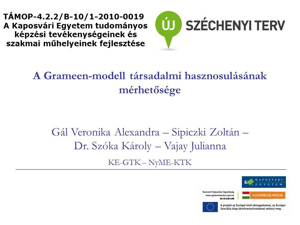 A Grameen-modell társadalmi hasznosulásának mérhetősége Gál Veronika Alexandra – Sipiczki Zoltán – Dr.
