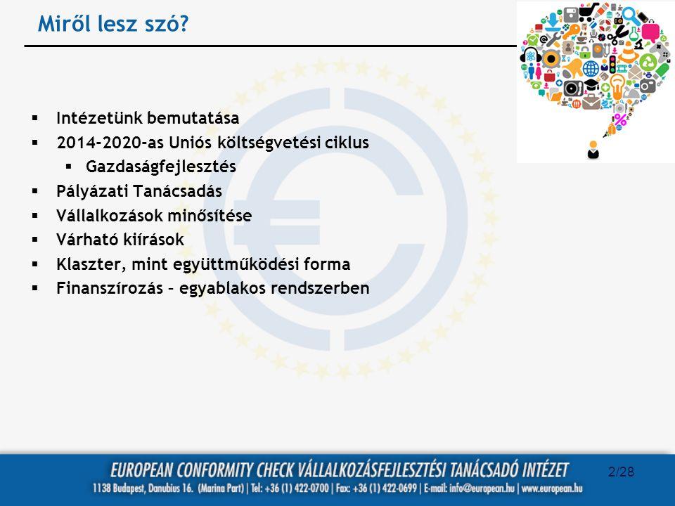 Miről lesz szó?  Intézetünk bemutatása  2014-2020-as Uniós költségvetési ciklus  Gazdaságfejlesztés  Pályázati Tanácsadás  Vállalkozások minősíté