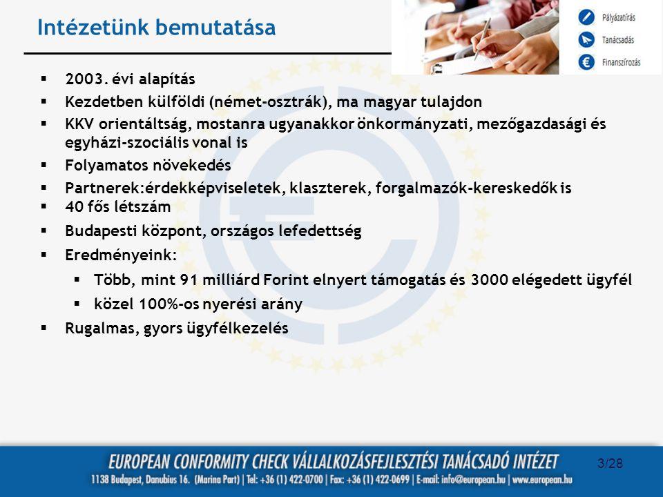 Intézetünk bemutatása  2003. évi alapítás  Kezdetben külföldi (német-osztrák), ma magyar tulajdon  KKV orientáltság, mostanra ugyanakkor önkormányz