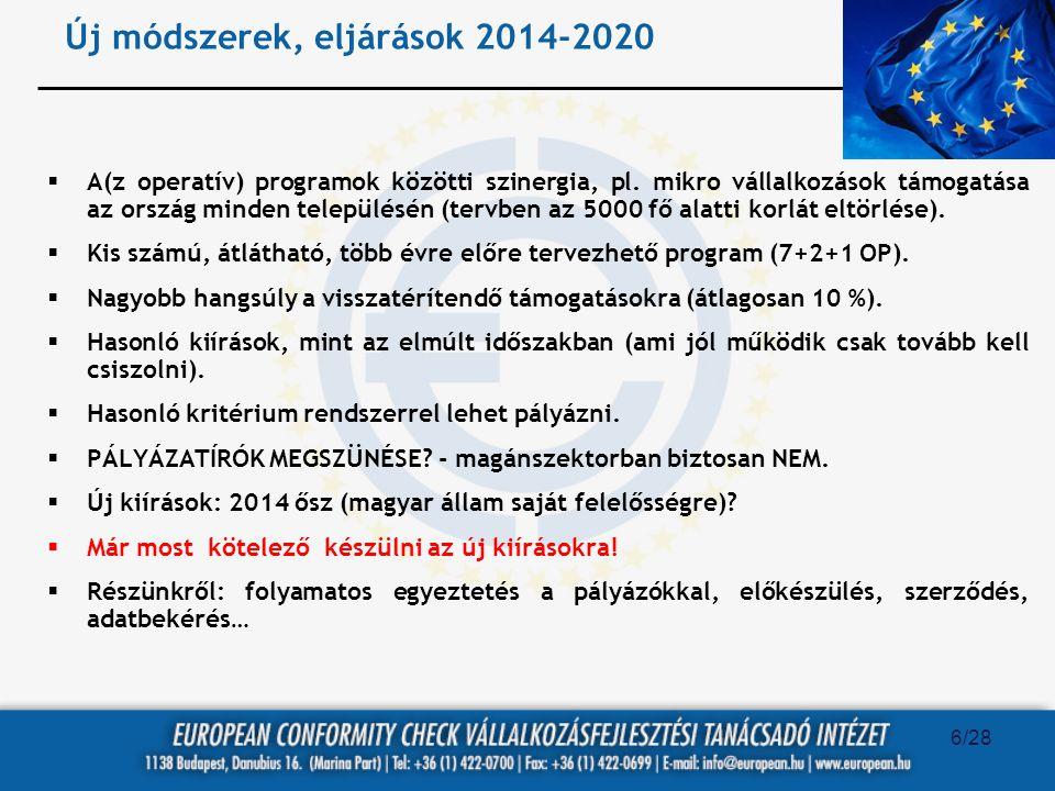 Új módszerek, eljárások 2014-2020  A(z operatív) programok közötti szinergia, pl. mikro vállalkozások támogatása az ország minden településén (tervbe