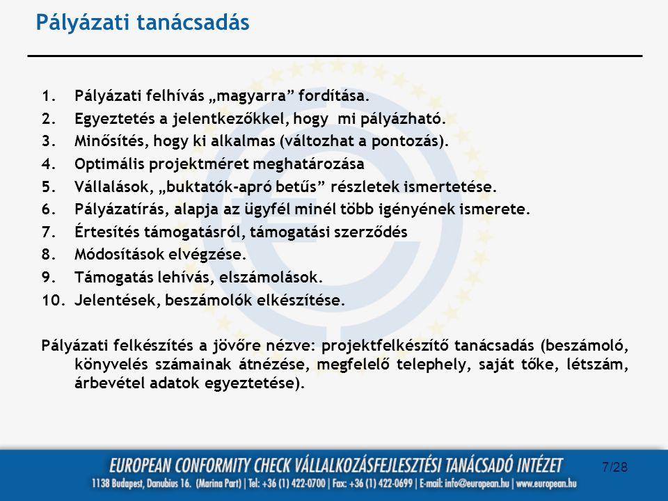 """Pályázati tanácsadás 1.Pályázati felhívás """"magyarra"""" fordítása. 2.Egyeztetés a jelentkezőkkel, hogy mi pályázható. 3.Minősítés, hogy ki alkalmas (vált"""