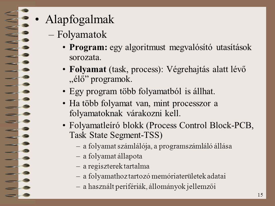 """15 Alapfogalmak –Folyamatok Program: egy algoritmust megvalósító utasítások sorozata. Folyamat (task, process): Végrehajtás alatt lévő """"élő"""" programok"""