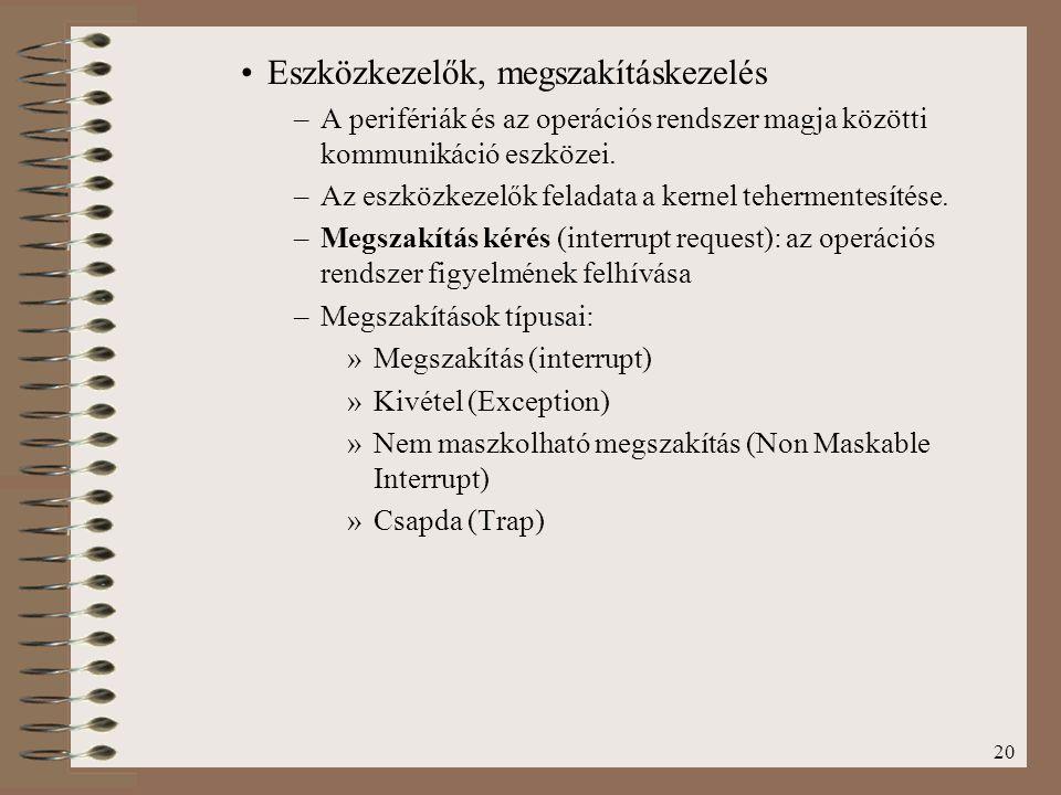 20 Eszközkezelők, megszakításkezelés –A perifériák és az operációs rendszer magja közötti kommunikáció eszközei. –Az eszközkezelők feladata a kernel t
