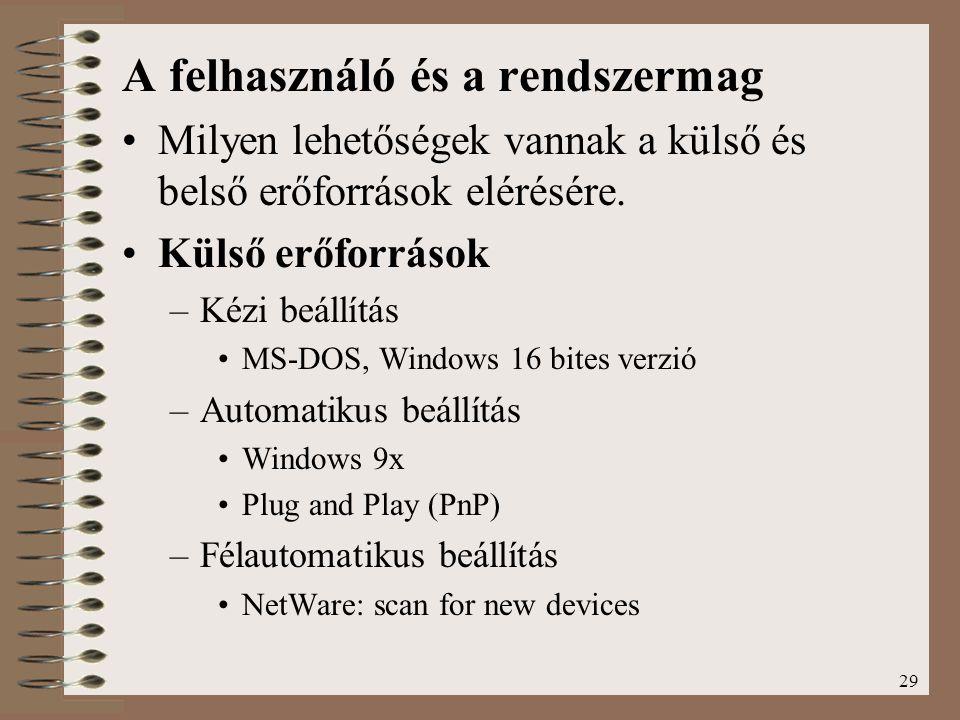 29 A felhasználó és a rendszermag Milyen lehetőségek vannak a külső és belső erőforrások elérésére. Külső erőforrások –Kézi beállítás MS-DOS, Windows