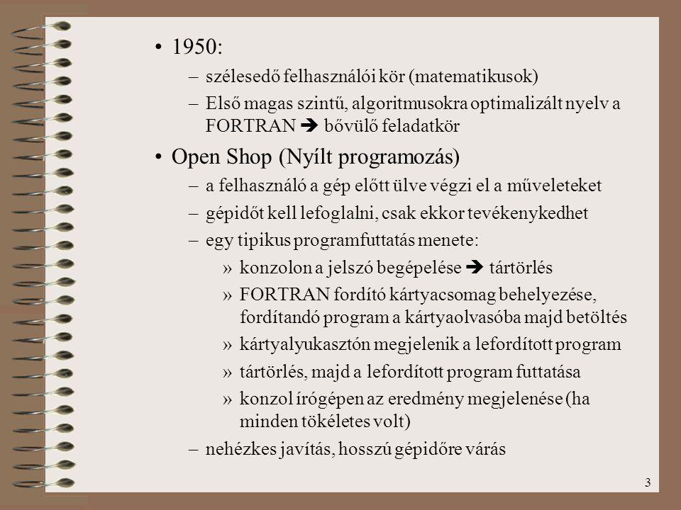 3 1950: –szélesedő felhasználói kör (matematikusok) –Első magas szintű, algoritmusokra optimalizált nyelv a FORTRAN  bővülő feladatkör Open Shop (Nyí