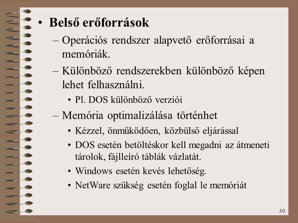 30 Belső erőforrások –Operációs rendszer alapvető erőforrásai a memóriák. –Különböző rendszerekben különböző képen lehet felhasználni. Pl. DOS különbö
