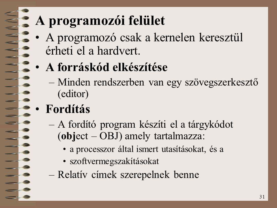 31 A programozói felület A programozó csak a kernelen keresztül érheti el a hardvert. A forráskód elkészítése –Minden rendszerben van egy szövegszerke