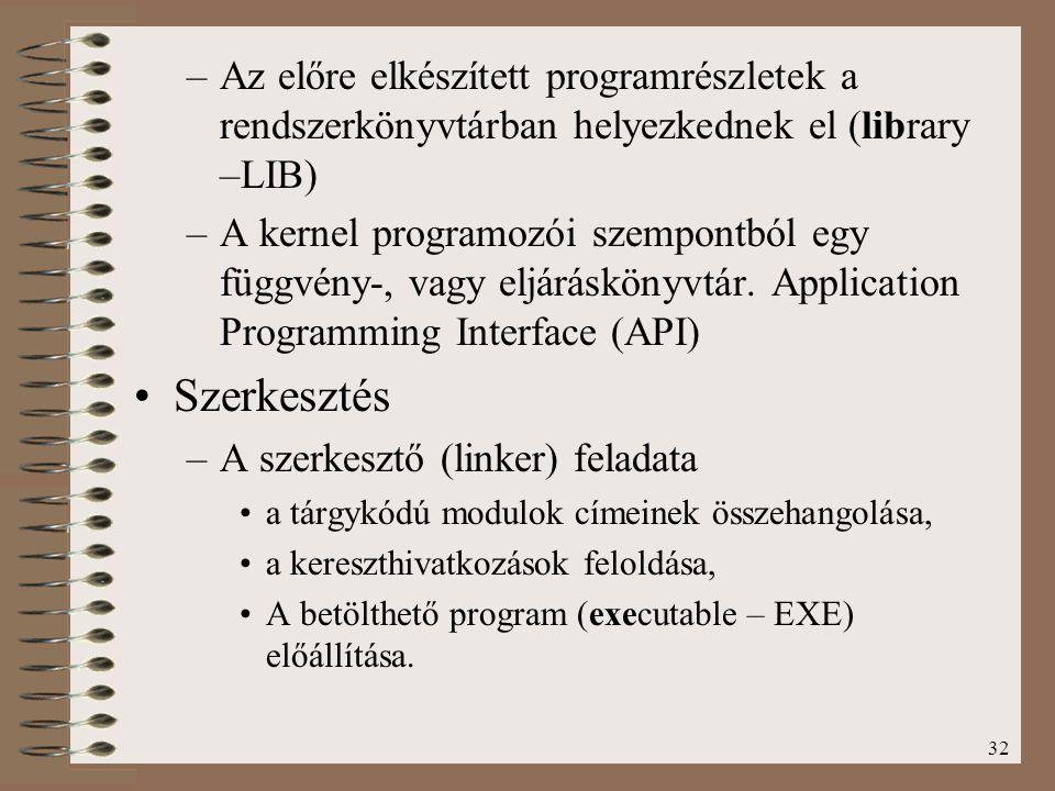 32 –Az előre elkészített programrészletek a rendszerkönyvtárban helyezkednek el (library –LIB) –A kernel programozói szempontból egy függvény-, vagy e