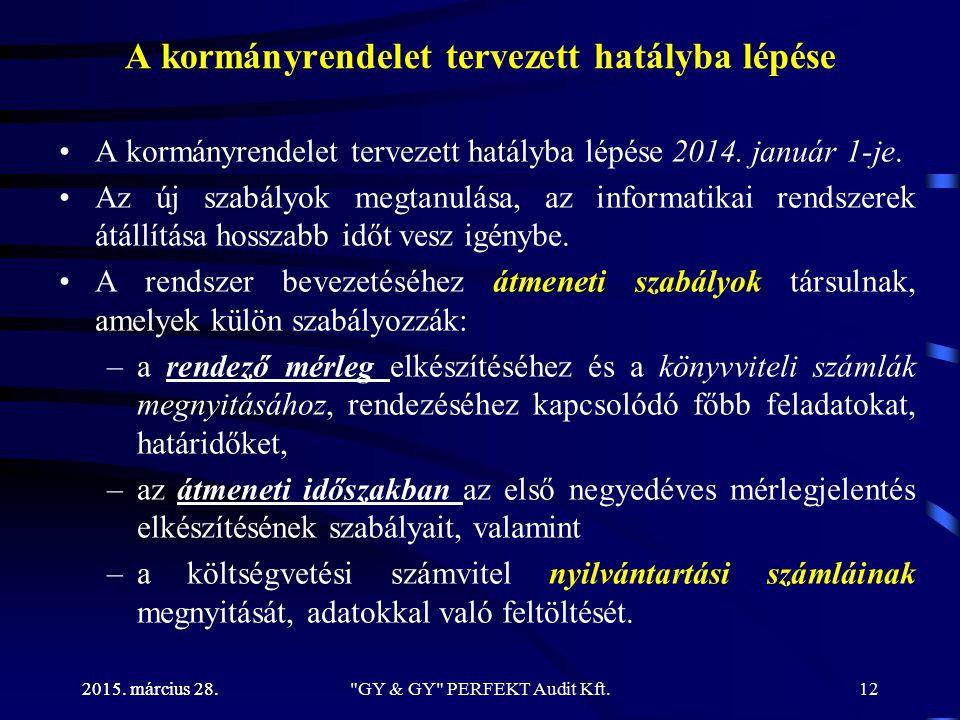 2015. március 28. A kormányrendelet tervezett hatályba lépése A kormányrendelet tervezett hatályba lépése 2014. január 1-je. Az új szabályok megtanulá