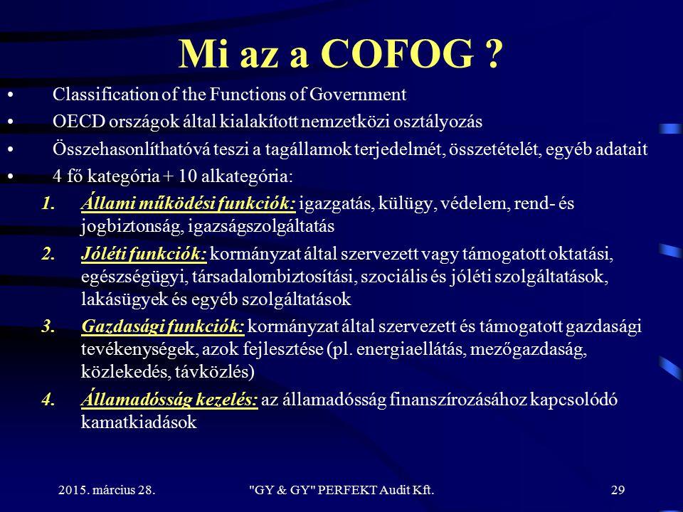 2015. március 28. Mi az a COFOG ? Classification of the Functions of Government OECD országok által kialakított nemzetközi osztályozás Összehasonlítha