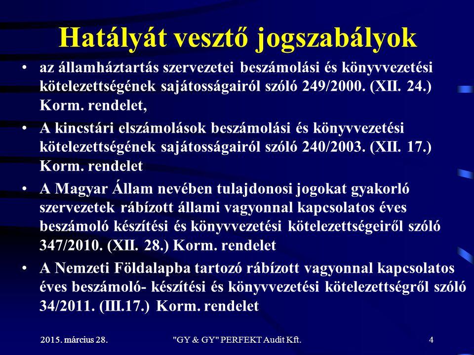 2015. március 28. Hatályát vesztő jogszabályok az államháztartás szervezetei beszámolási és könyvvezetési kötelezettségének sajátosságairól szóló 249/