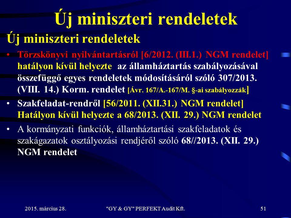 Új miniszteri rendeletek Törzskönyvi nyilvántartásról [6/2012. (III.1.) NGM rendelet] hatályon kívül helyezte az államháztartás szabályozásával összef