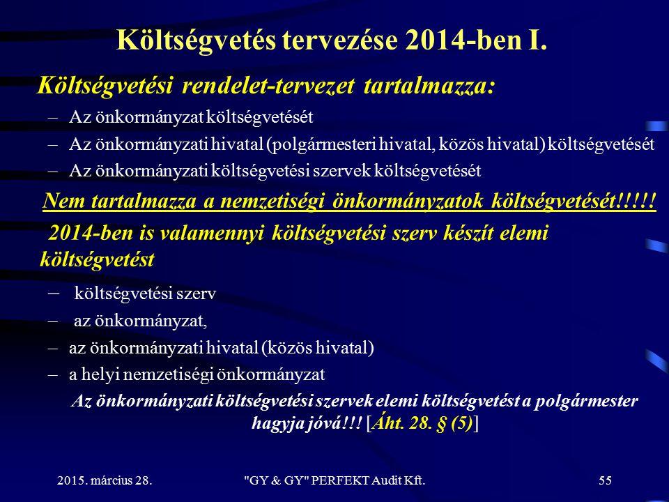 Költségvetés tervezése 2014-ben I. Költségvetési rendelet-tervezet tartalmazza: –Az önkormányzat költségvetését –Az önkormányzati hivatal (polgármeste