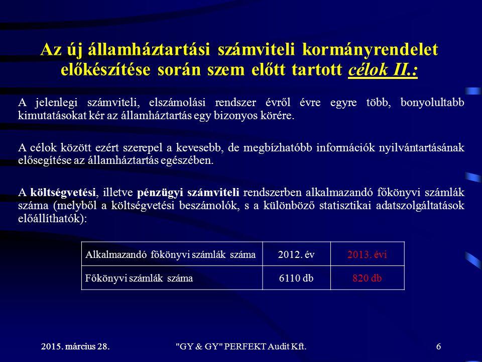 Önkormányzatok költségvetésének tervezési feladatai 2015. március 28. GY & GY PERFEKT Audit Kft.47