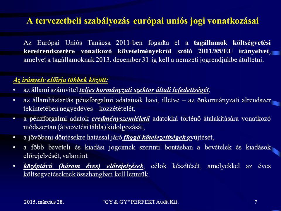 2015.március 28. GY & GY PERFEKT Audit Kft.48 Jogszabályi környezet (1) 1.1.