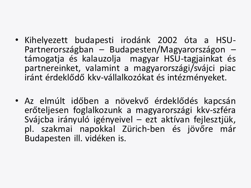 Kihelyezett budapesti irodánk 2002 óta a HSU- Partnerországban – Budapesten/Magyarországon – támogatja és kalauzolja magyar HSU-tagjainkat és partnereinket, valamint a magyarországi/svájci piac iránt érdeklődő kkv-vállalkozókat és intézményeket.