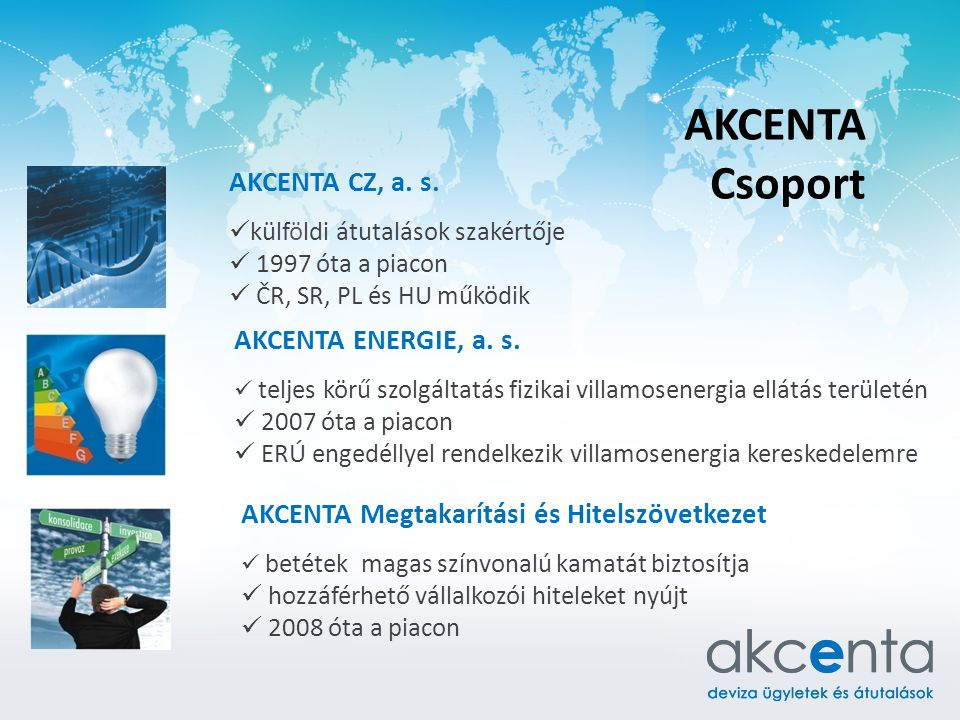 AKCENTA Csoport AKCENTA CZ, a. s. külföldi átutalások szakértője 1997 óta a piacon ČR, SR, PL és HU működik AKCENTA ENERGIE, a. s. teljes körű szolgál