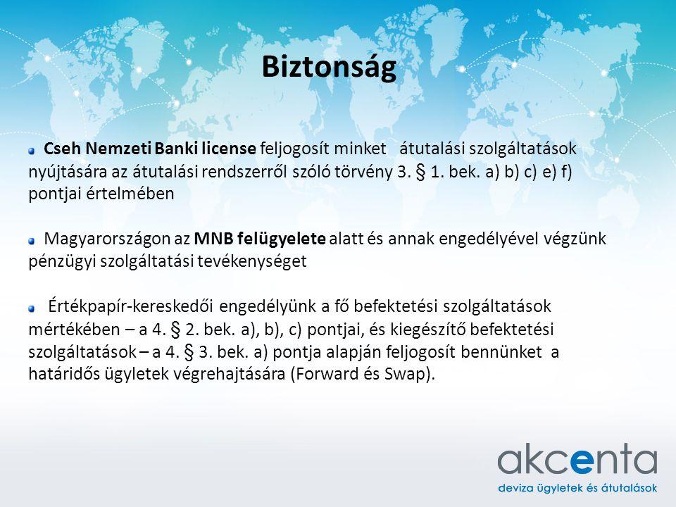 Biztonság Cseh Nemzeti Banki license feljogosít minket átutalási szolgáltatások nyújtására az átutalási rendszerről szóló törvény 3. § 1. bek. a) b) c