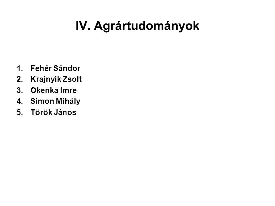 IV. Agrártudományok 1.Fehér Sándor 2.Krajnyik Zsolt 3.Okenka Imre 4.Simon Mihály 5.Török János