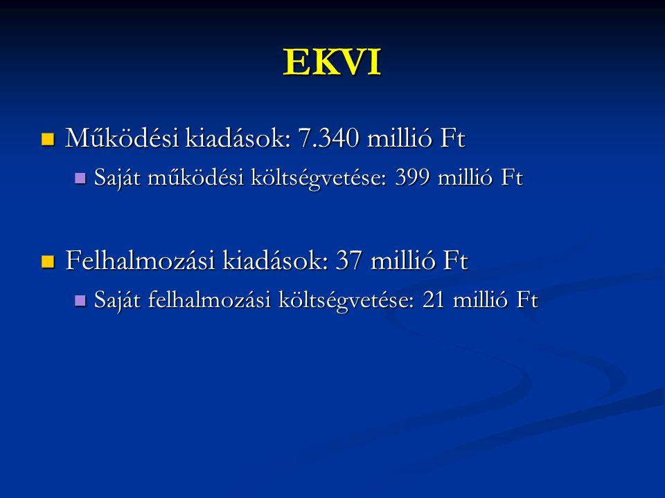 EKVI Működési kiadások: 7.340 millió Ft Működési kiadások: 7.340 millió Ft Saját működési költségvetése: 399 millió Ft Saját működési költségvetése: 399 millió Ft Felhalmozási kiadások: 37 millió Ft Felhalmozási kiadások: 37 millió Ft Saját felhalmozási költségvetése: 21 millió Ft Saját felhalmozási költségvetése: 21 millió Ft