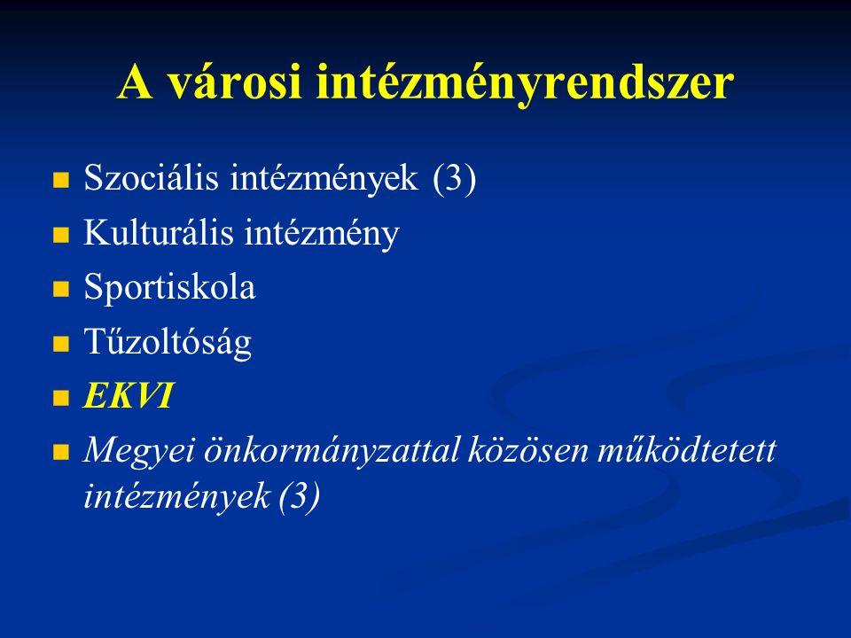 A városi intézményrendszer Szociális intézmények (3) Kulturális intézmény Sportiskola Tűzoltóság EKVI Megyei önkormányzattal közösen működtetett intézmények (3)