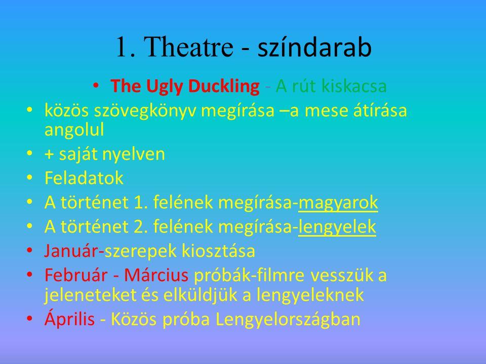 1. Theatre - színdarab The Ugly Duckling - A rút kiskacsa közös szövegkönyv megírása –a mese átírása angolul + saját nyelven Feladatok A történet 1. f