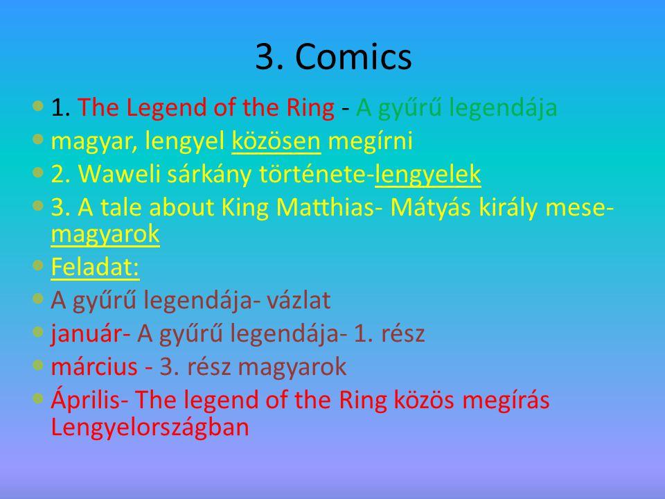 3.Comics 1. The Legend of the Ring - A gyűrű legendája magyar, lengyel közösen megírni 2.