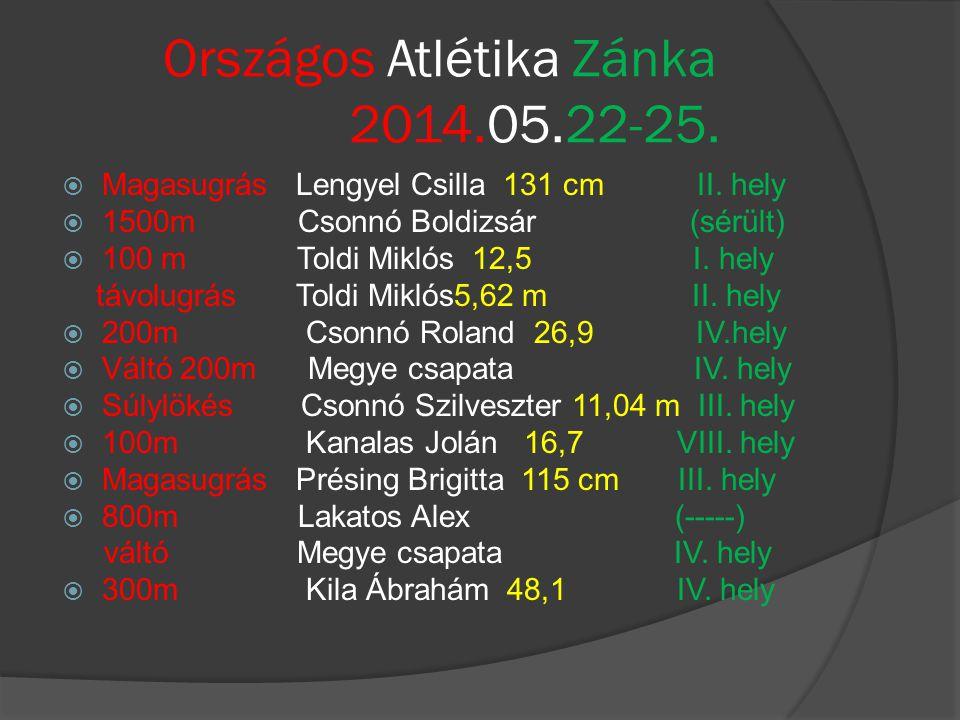 Országos Atlétika Zánka 2014.05.22-25.  Magasugrás Lengyel Csilla 131 cm II. hely  1500m Csonnó Boldizsár (sérült)  100 m Toldi Miklós 12,5 I. hely
