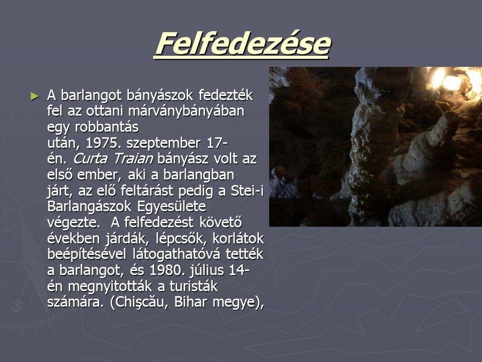Felfedezése ► A barlangot bányászok fedezték fel az ottani márványbányában egy robbantás után, 1975. szeptember 17- én. Curta Traian bányász volt az e