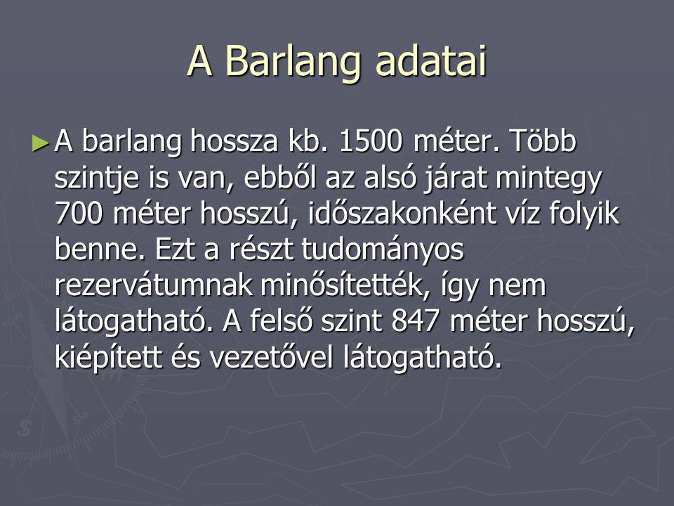 A Barlang adatai ► A barlang hossza kb. 1500 méter. Több szintje is van, ebből az alsó járat mintegy 700 méter hosszú, időszakonként víz folyik benne.