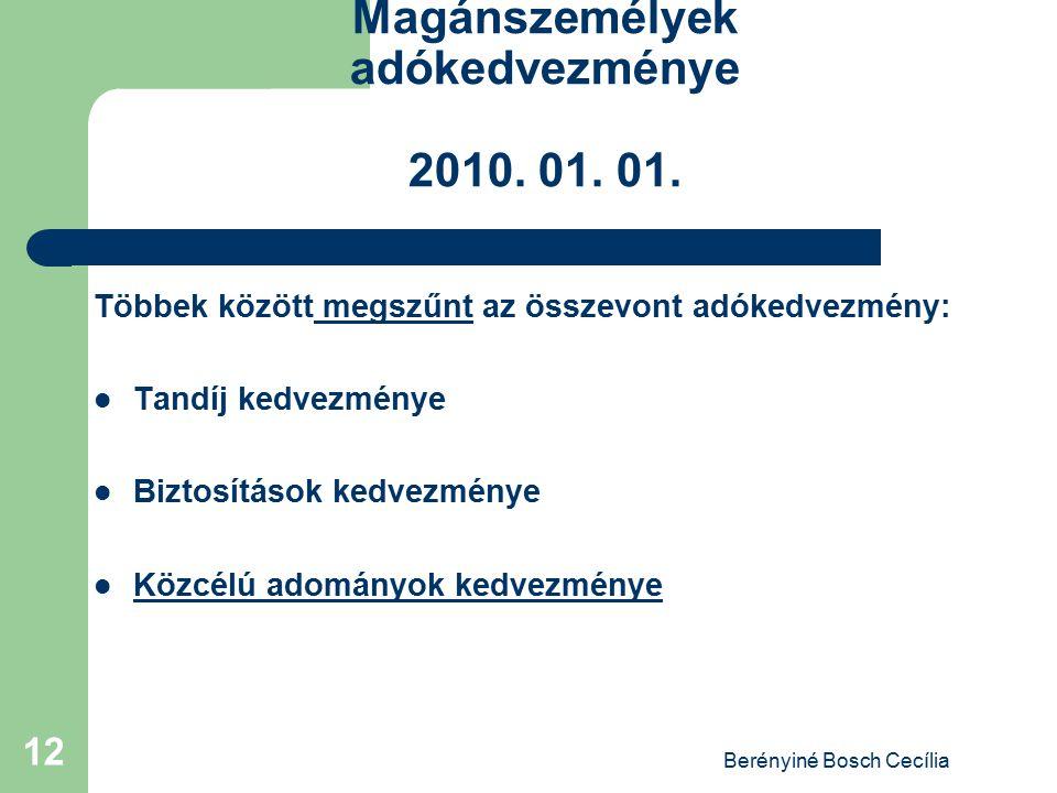Berényiné Bosch Cecília 12 Magánszemélyek adókedvezménye 2010. 01. 01. Többek között megszűnt az összevont adókedvezmény: Tandíj kedvezménye Biztosítá