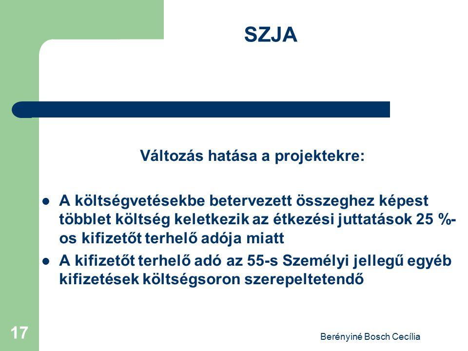 Berényiné Bosch Cecília 17 SZJA Változás hatása a projektekre: A költségvetésekbe betervezett összeghez képest többlet költség keletkezik az étkezési