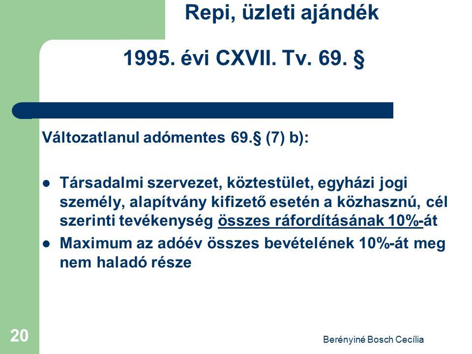 Berényiné Bosch Cecília 20 Repi, üzleti ajándék 1995. évi CXVII. Tv. 69. § Változatlanul adómentes 69.§ (7) b): Társadalmi szervezet, köztestület, egy