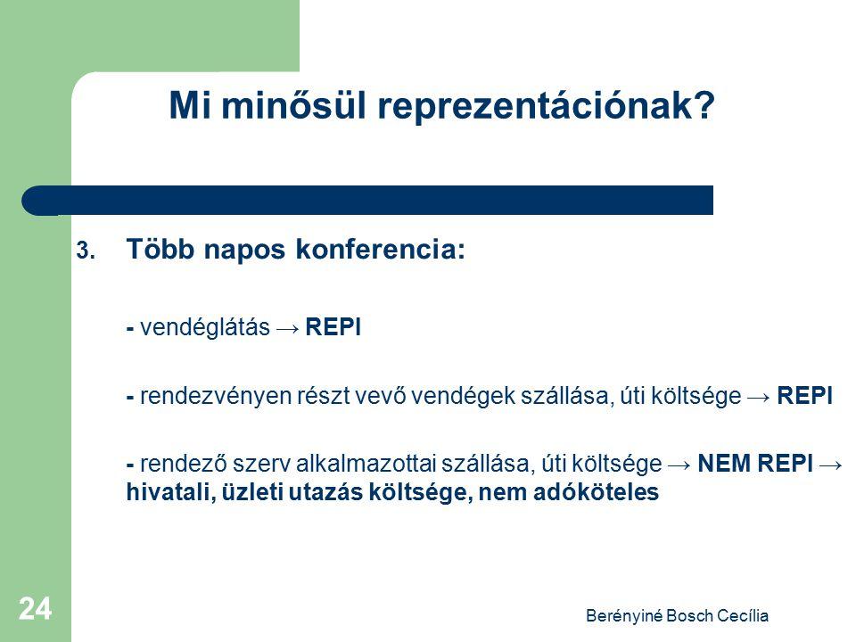Berényiné Bosch Cecília 24 Mi minősül reprezentációnak? 3. Több napos konferencia: - vendéglátás → REPI - rendezvényen részt vevő vendégek szállása, ú