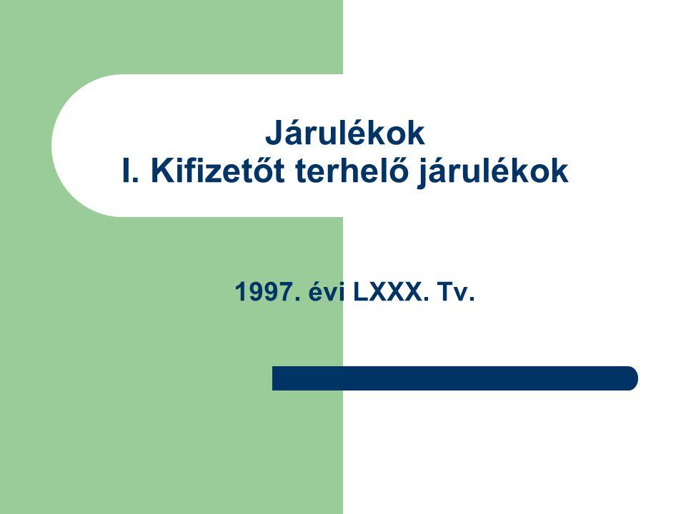Járulékok I. Kifizetőt terhelő járulékok 1997. évi LXXX. Tv.