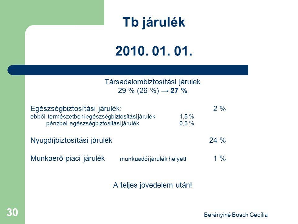 Berényiné Bosch Cecília 30 Tb járulék 2010. 01. 01. Társadalombiztosítási járulék 29 % (26 %) → 27 % Egészségbiztosítási járulék: 2 % ebből: természet