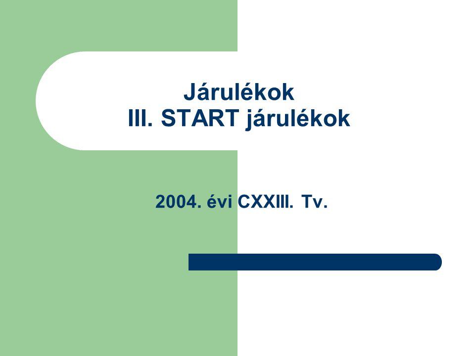 Járulékok III. START járulékok 2004. évi CXXIII. Tv.