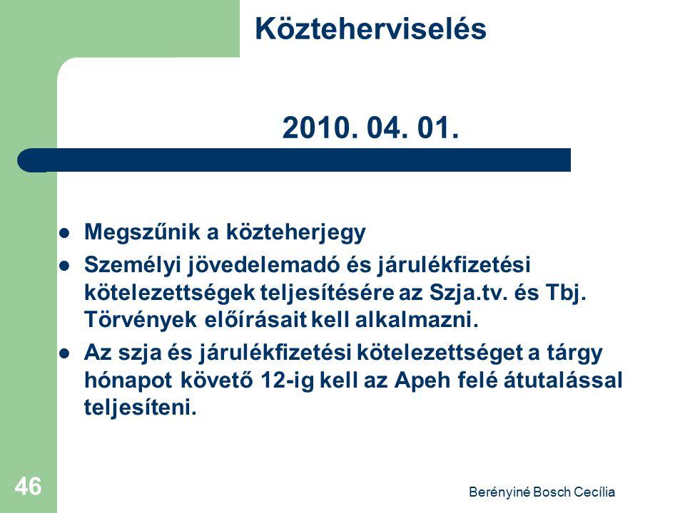 Berényiné Bosch Cecília 46 Közteherviselés 2010. 04. 01. Megszűnik a közteherjegy Személyi jövedelemadó és járulékfizetési kötelezettségek teljesítésé
