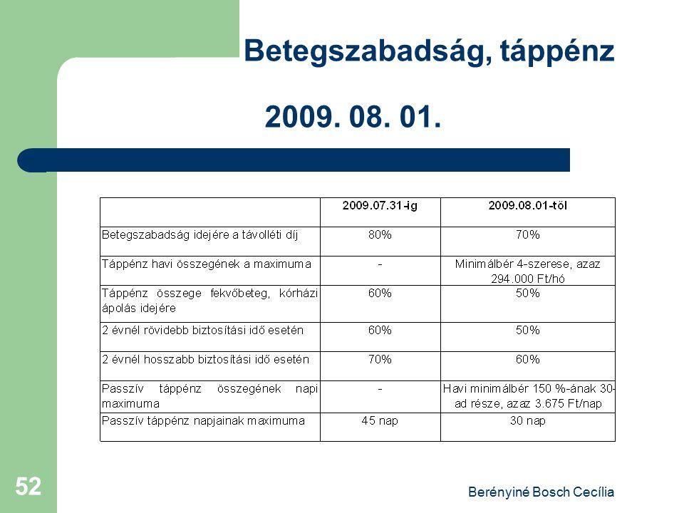 Berényiné Bosch Cecília 52 Betegszabadság, táppénz 2009. 08. 01.