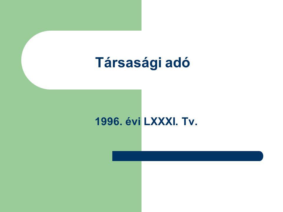 Társasági adó 1996. évi LXXXI. Tv.