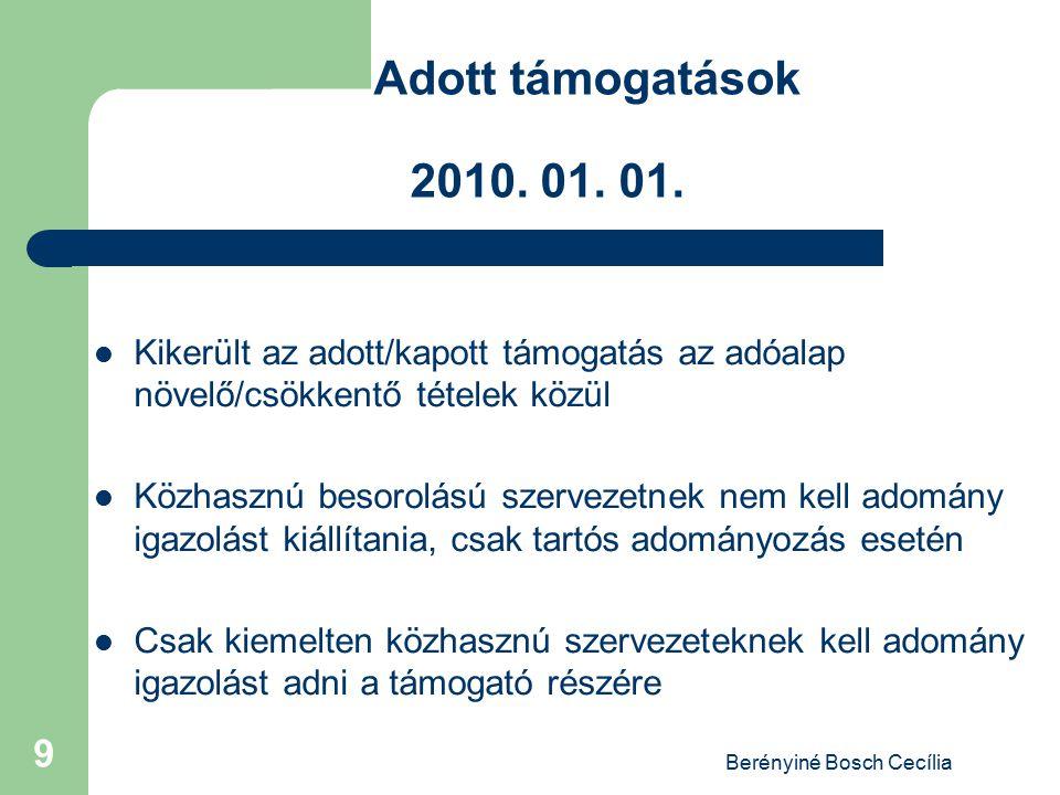 Berényiné Bosch Cecília 9 Adott támogatások 2010. 01. 01. Kikerült az adott/kapott támogatás az adóalap növelő/csökkentő tételek közül Közhasznú besor