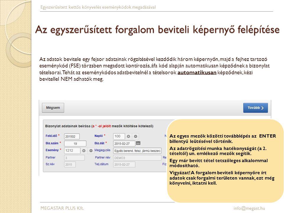 Az egyszerűsített forgalom beviteli képernyő felépítése MEGASTAR PLUS Kft. info@megast.hu Egyszerűsített kettős könyvelés eseménykódok megadásával Az