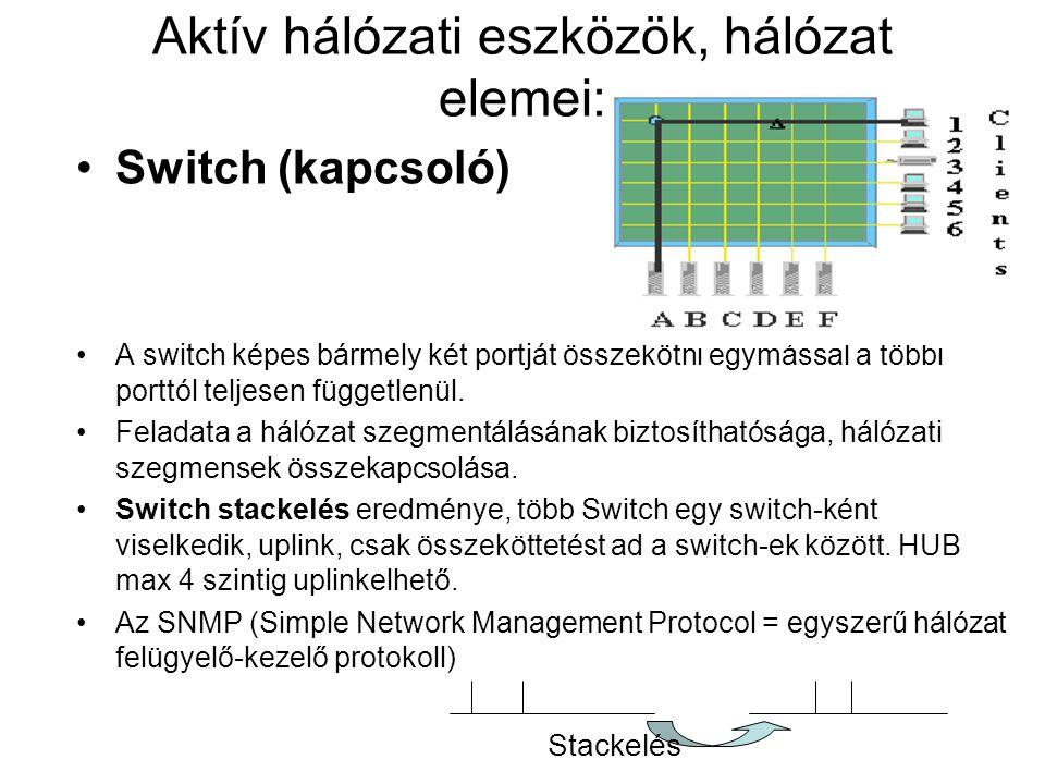 Aktív hálózati eszközök, hálózat elemei: Switch (kapcsoló) A switch képes bármely két portját összekötni egymással a többi porttól teljesen függetlenü