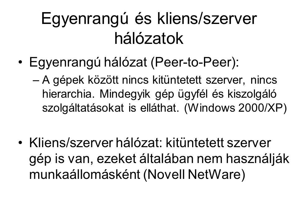 Egyenrangú és kliens/szerver hálózatok Egyenrangú hálózat (Peer-to-Peer): –A gépek között nincs kitüntetett szerver, nincs hierarchia. Mindegyik gép ü